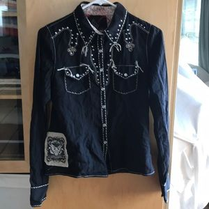Miss Me LA black embellished cowboy shirt